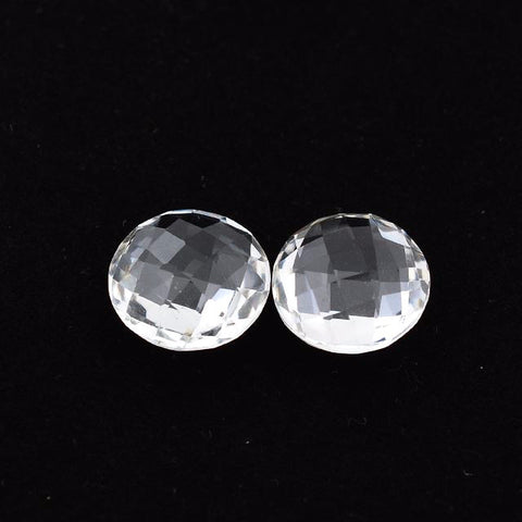 Crystal Quartz round briolette cut - 12 mm (checkerboard)