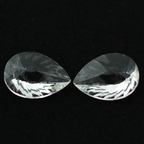 Natural crystal quartz pear briolette concave cut 14x10mm gemstone