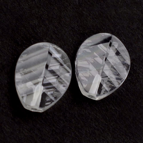 Natural crystal quartz pear leaf concave cut 11x9mm gemstone