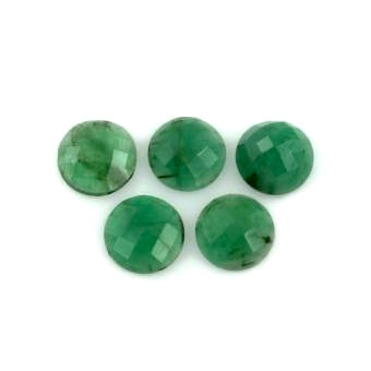 natural emerald cabochon round checkerboard cut 9mm loose gemstone