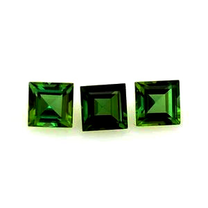 Tourmaline green square cut 4mm loose gemstone