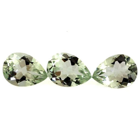 natural green amethyst or prasiolite pear shape 10x7mm gemstone