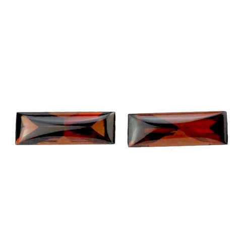 garnet red baguette buff-top cut 12x4mm gemstone