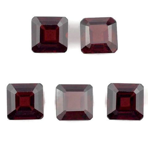 garnet red square octagon cut 6mm loose gemstone
