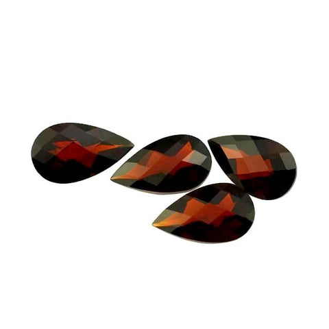 garnet red pear checkerboard cut 12x7mm loose gemstone