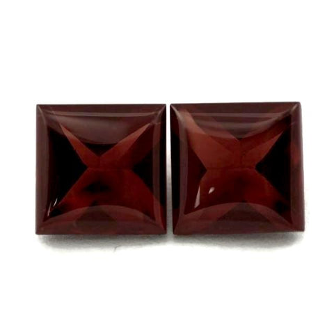 natural garnet red square cut buff-top 7mm natural stone