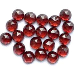 garnet red round rose-cut cabochon 5mm loose gemstone