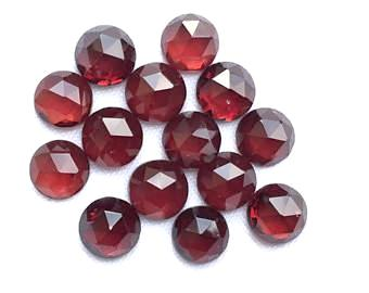 garnet red round rose-cut cabochon 6mm loose gemstone