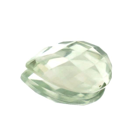 green amethyst prasiolite pear checkerboard cabochon 12x8mm gemstone