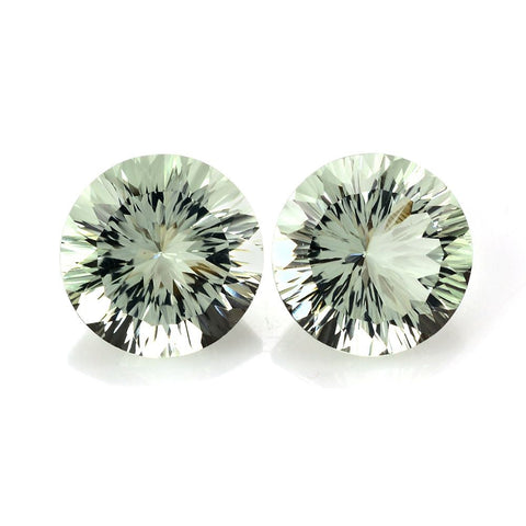natural green amethyst or prasiolite round concave cut 9mm gemstone