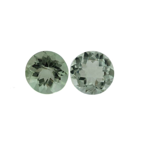 Natural green amethyst prasiolite round checkerboard gemstone