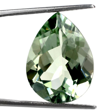 green amethyst prasiolite pear checkerboard 12x8mm gemstone