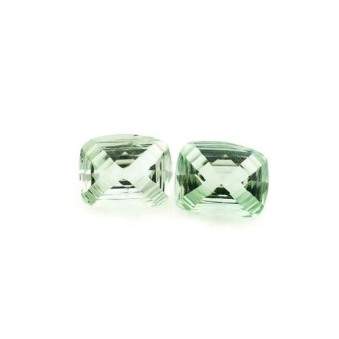 green amethyst prasiolite gemstones cushion step-cut stripes 10x8mm