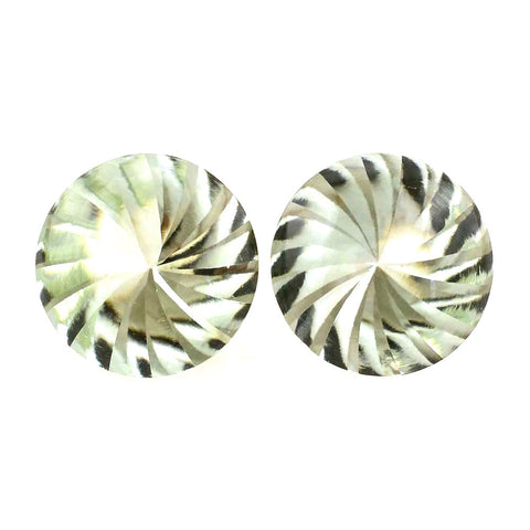 green amethyst prasiolite round cut 12mm whirl buff-top gemstone