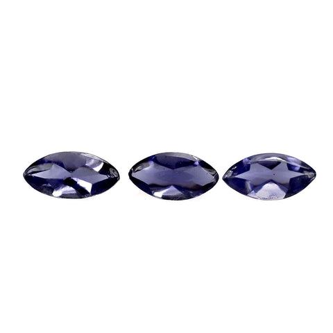 Natural iolite marquise buff-top cut 5x2.5mm loose gemstone