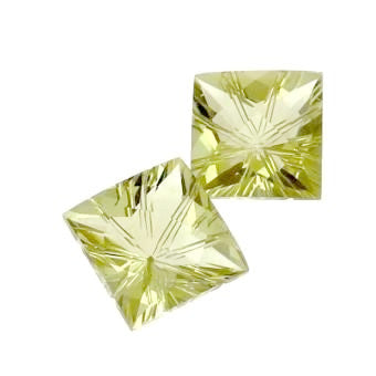 lemon quartz square star-cut 10mm loose gemstone