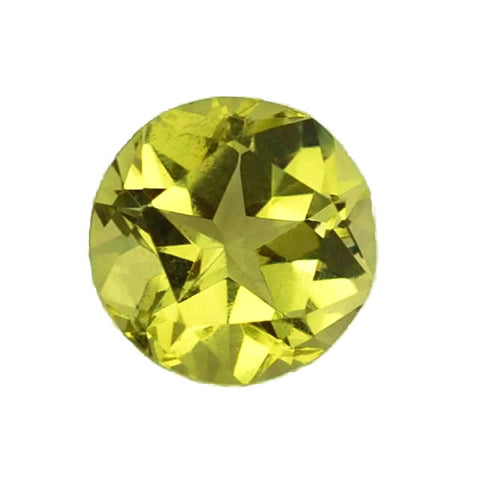 Lemon Quartz round cut - 12mm (star cut on the apex and pavilion)