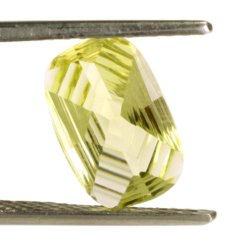 lemon quartz cushion octagon cut stripes 12x8mm gemstone