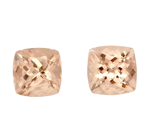Natural peach morganite cushion 6mm loose stone