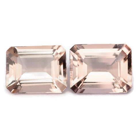 morganite peach pink octagon emerald cut 10x8mm loose gemstone