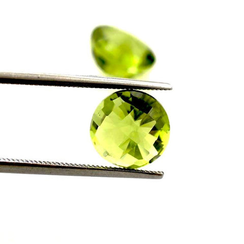 peridot green round checkerboard cabochon 6mm natural gemstone