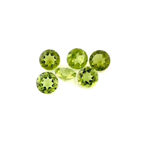 peridot green round cut 5mm loose gemstone