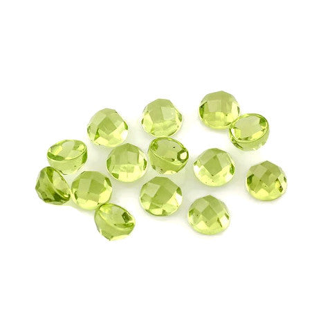 Natural peridot round checkerboard cut cabochon 8mm gem