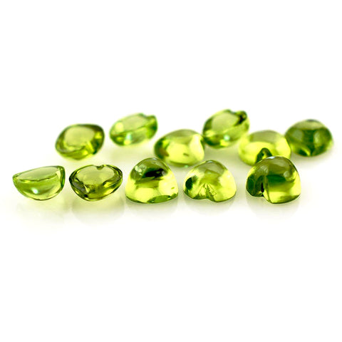 Natural peridot heart cut cabochon 5mm loose gemstone