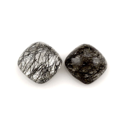 Black rutile quartz cushion cut cabochon 10mm gemstone