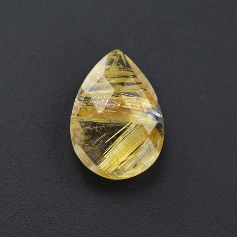 Natural golden rutile quartz pear briolette checkerboard 10x7mm gem