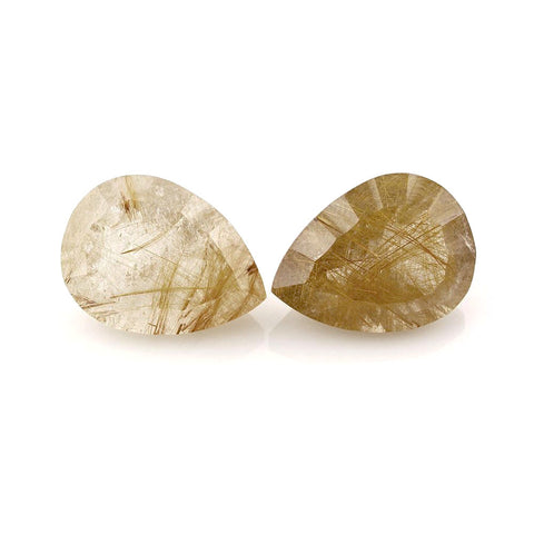 Natural golden rutile quartz pear concave cut gemstone 20x15mm