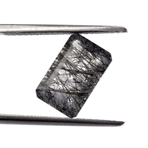 Natural black rutile quartz octagon cut 11x7mm gemstone