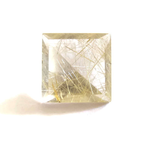 Natural untreated golden rutile quartz square mirror cut 10mm gemstone
