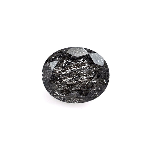 natural black rutile quartz oval 10x8mm cut gemstone