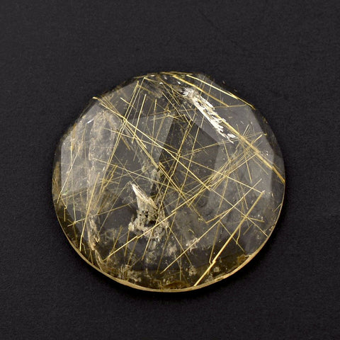 Natural untreated golden rutile quartz round rose cut cabochon 10mm gem