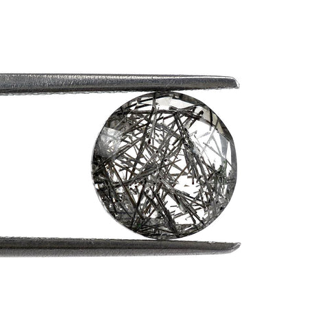 Black rutile quartz round cut cabochon 6mm loose gemstone