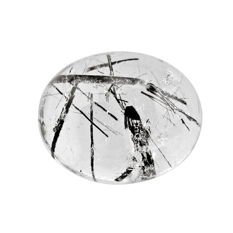 rutile quartz black oval cut cabochon 11X9mm gemstone