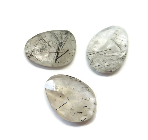 black rutile quartz free form cabochon 18x13mm gemstone