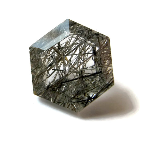 black rutile quartz hexagon step-cut 8mm natural stone