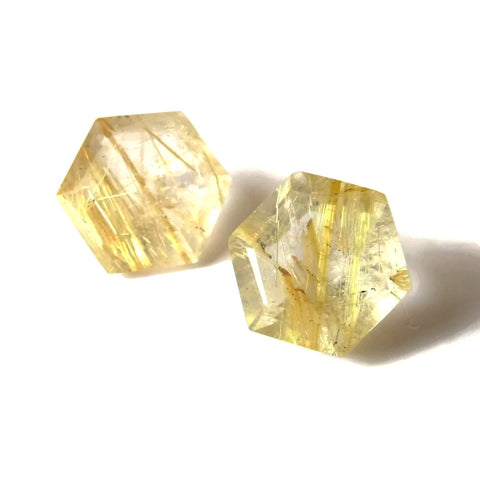 golden rutile quartz hexagon step-cut 6mm loose gemstone