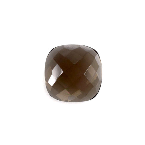 Natural smokey quartz cushion checkerboard cabochon 10mm gemstone