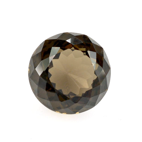 Natural smokey quartz round portuguese cut 12mm loose gemstone