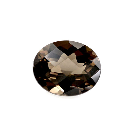 smoky quartz brown oval cut checkerboard 14x12mm loose gemstone
