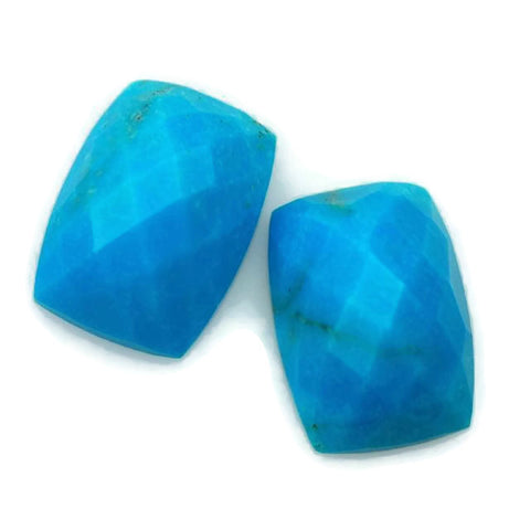 Natural turquoise octagon cushion checkerboard cabochon