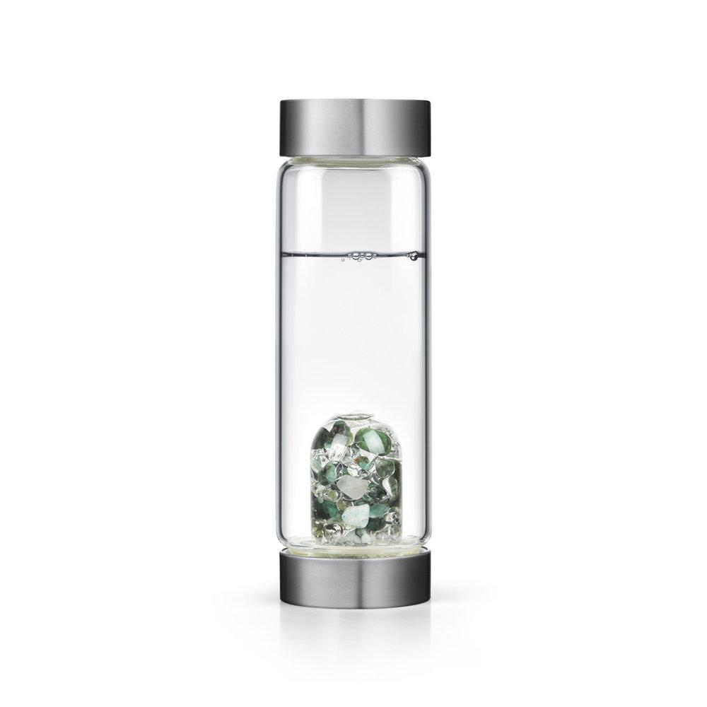 Vitality Gem Water Bottle Emerald and Clear Quartz
