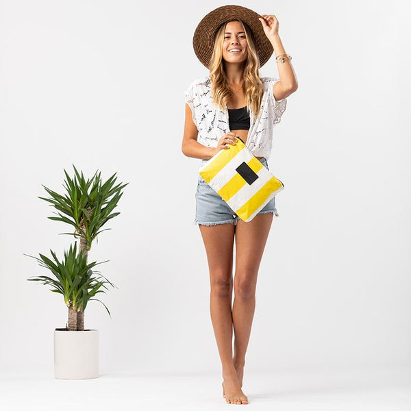 Mid Vertical Stripe Pouch Canary on White