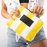 Small Vertical Stripe Pouch Canary on White