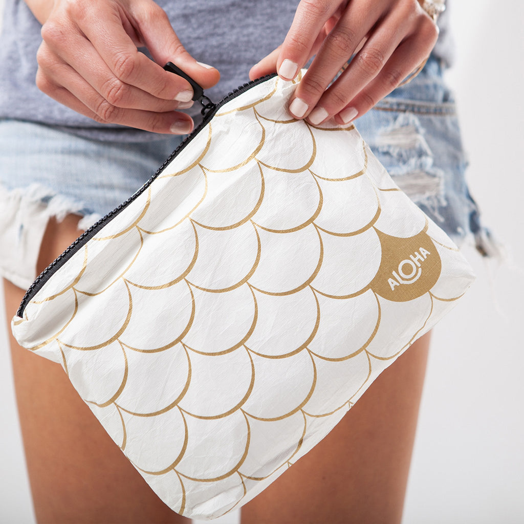 Small Mermaid Pouch White and Gold