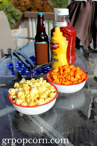 Ranch Popcorn and Cheddar Hot Pop Popcorn for a BBQ