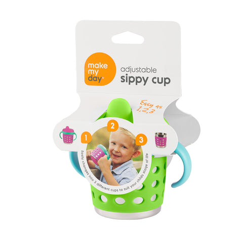 adjustable sippy cup - green/blue